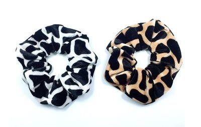 Stone patterned velvet scrunchies