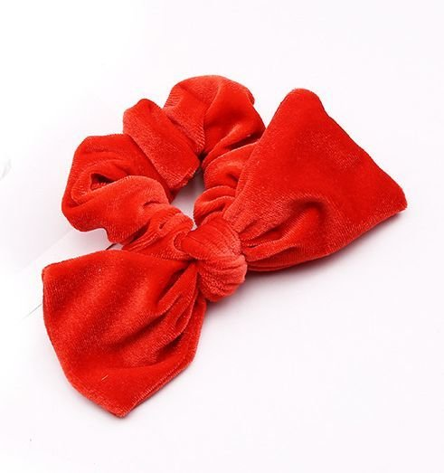 Large velvet bow scrunchies
