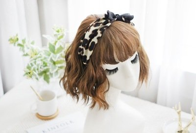 Leopard printed silk headband with black bow
