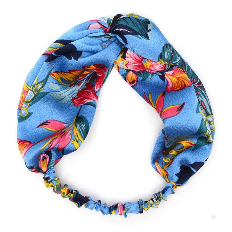 Iris floral patterned silky elastic turban headband