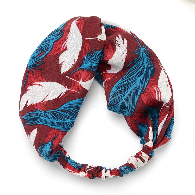 Feathers print turban headband