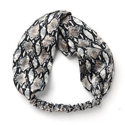 Snake skin patterned silky turban headband