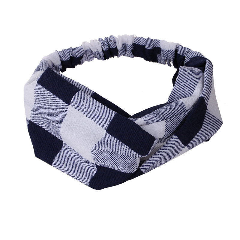 Checks chiffon turban headband