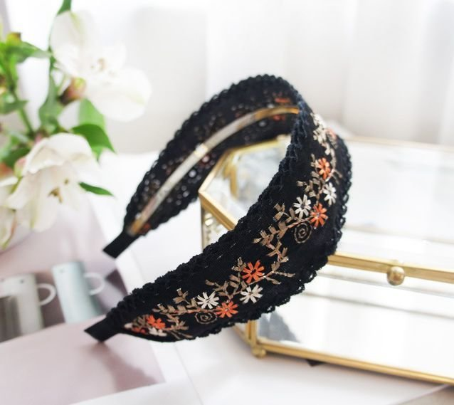 Stitched floral suede headband
