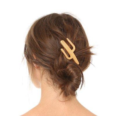 Metallic cactus hair barrette