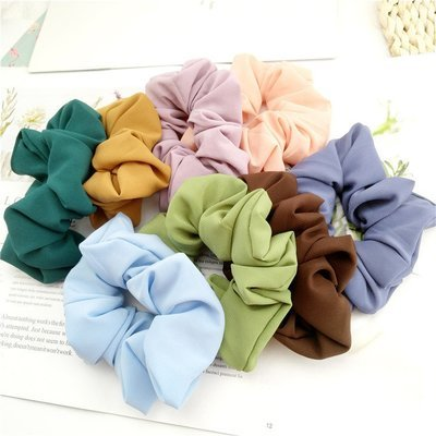 Macaroon chiffon plain scrunchies - 30 pieces