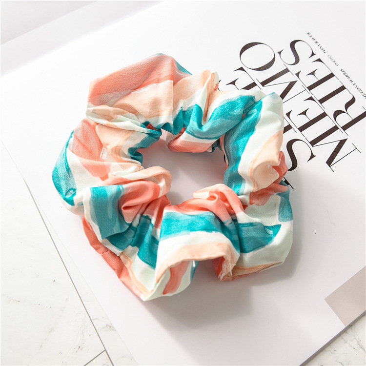 Rainbow striped scrunchies