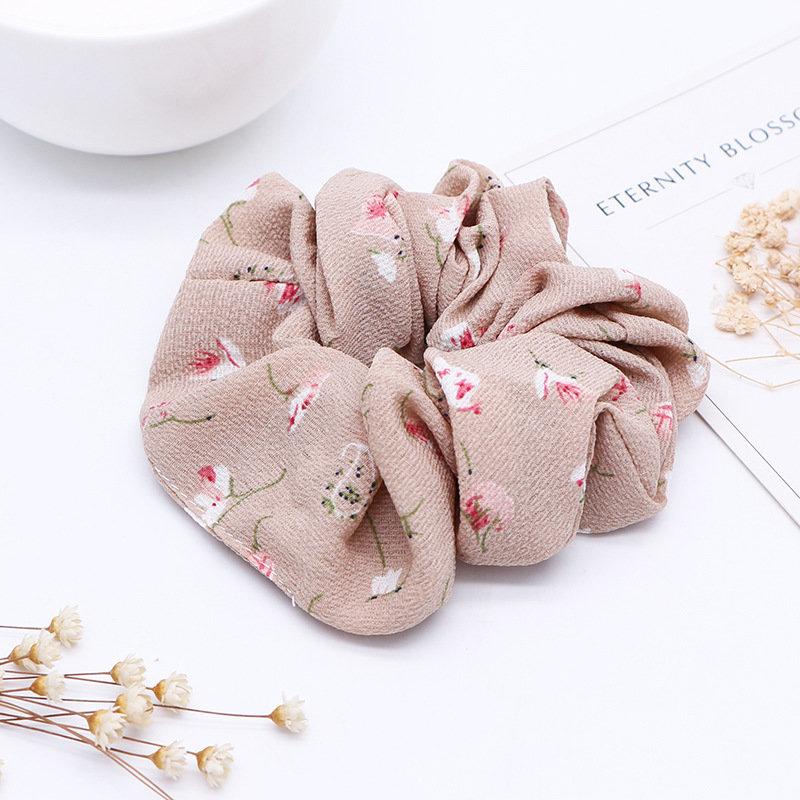 Pearl chiffon floral scrunchies