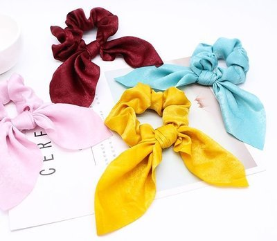 Premium satin ribbon bow scrunchies