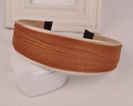 4cm-wide satin & chiffon layered headband