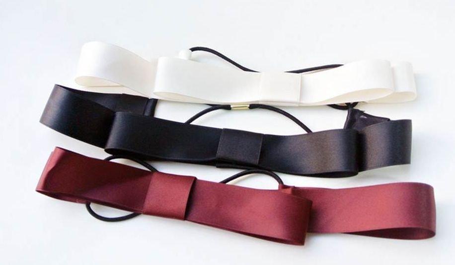 Satin ribbon bow-tie elastic headband