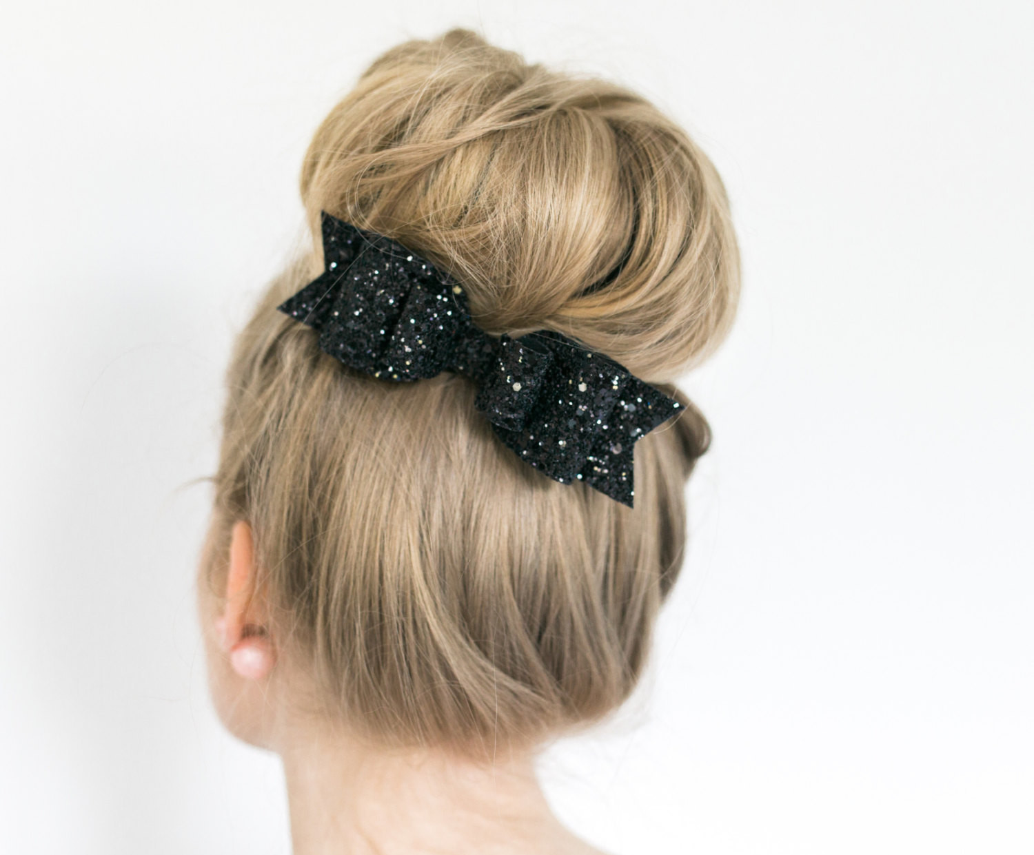 Glitter bow hair barrette