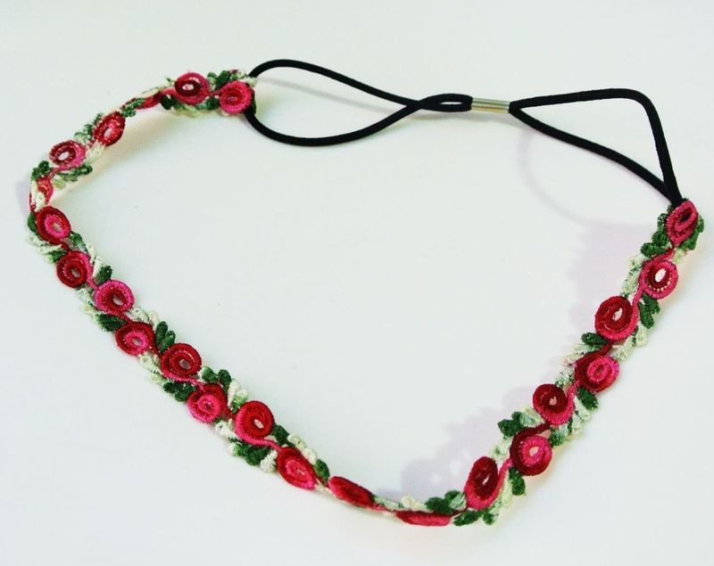 Lace rose flower elastic headband