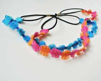 Rainbow-circle elastic headband