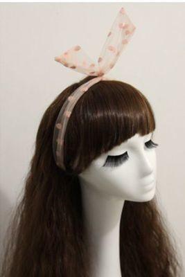 Dots voile ribbon twist hair scarf