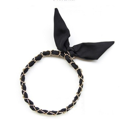 Chiffon + golden chain twist hair scarf