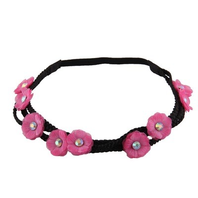 3-layer chiffon flower wreath elastic headband