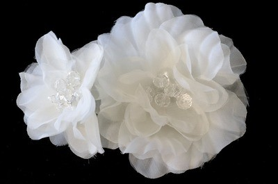 Ivory white large twin flower hair stick