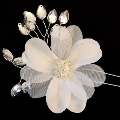 Shiny Crystals & Pearls flower hair stick (Style #1)