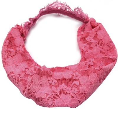 Pink floral lace stretch headband