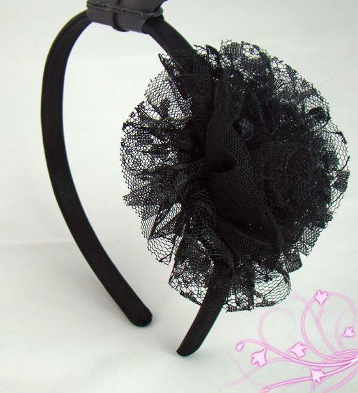 Black organza tulle pom headband