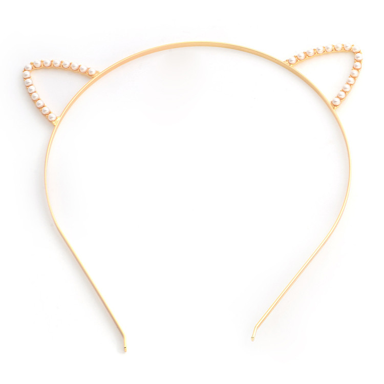 White pearls small ears headband
