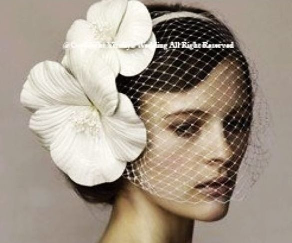 Double white flowers + veil