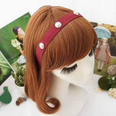 Suede silver/round rivets headband