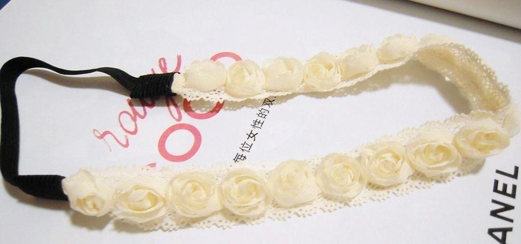 Lace rose flower wreath headband
