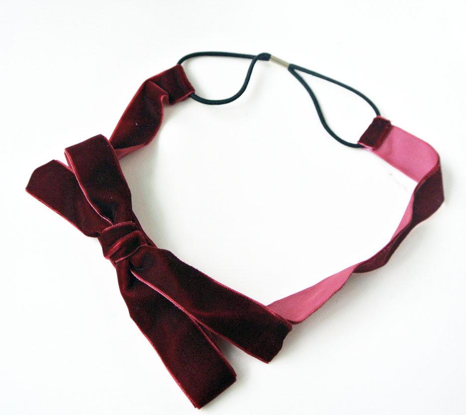 Velvet bow-tie elastic headband