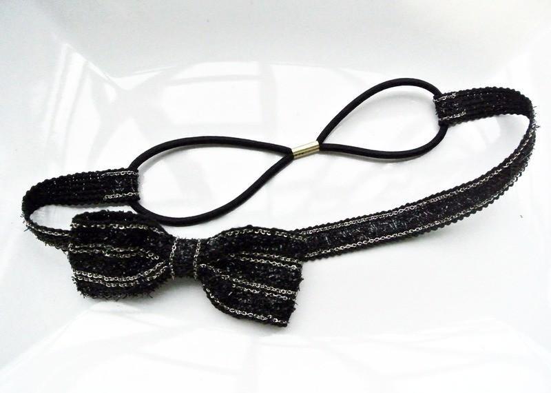 Black bow-tie elastic headband