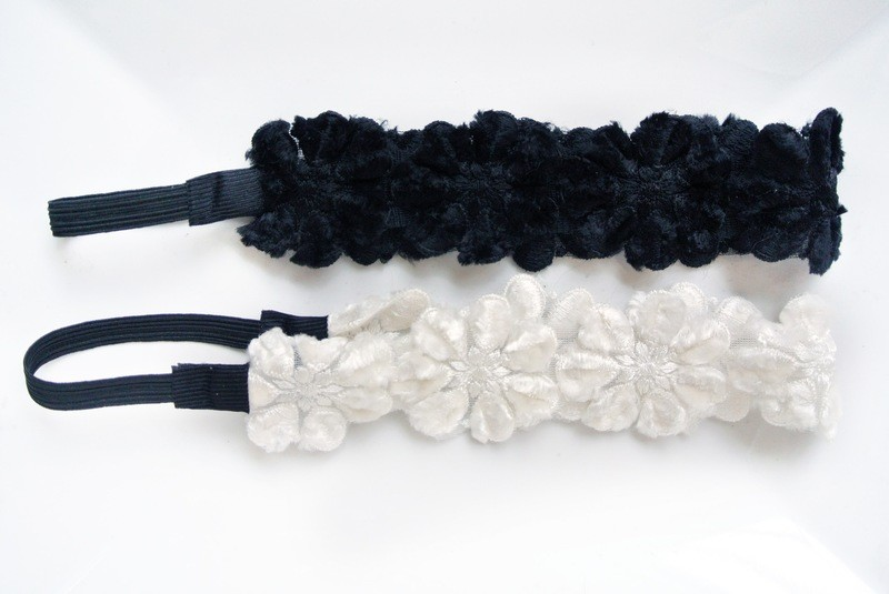 Velvet lace winter flowers elastic headband