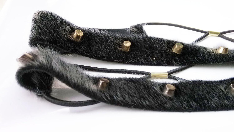 Synthetic fur rivets elastic headband