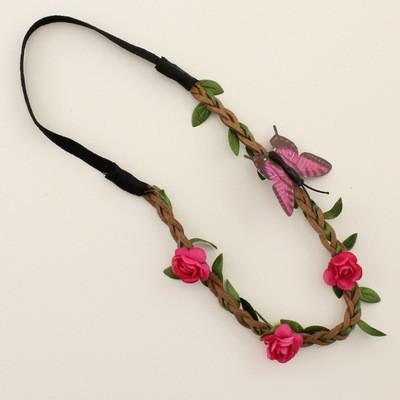 Butterfly paper flowers elastic headband