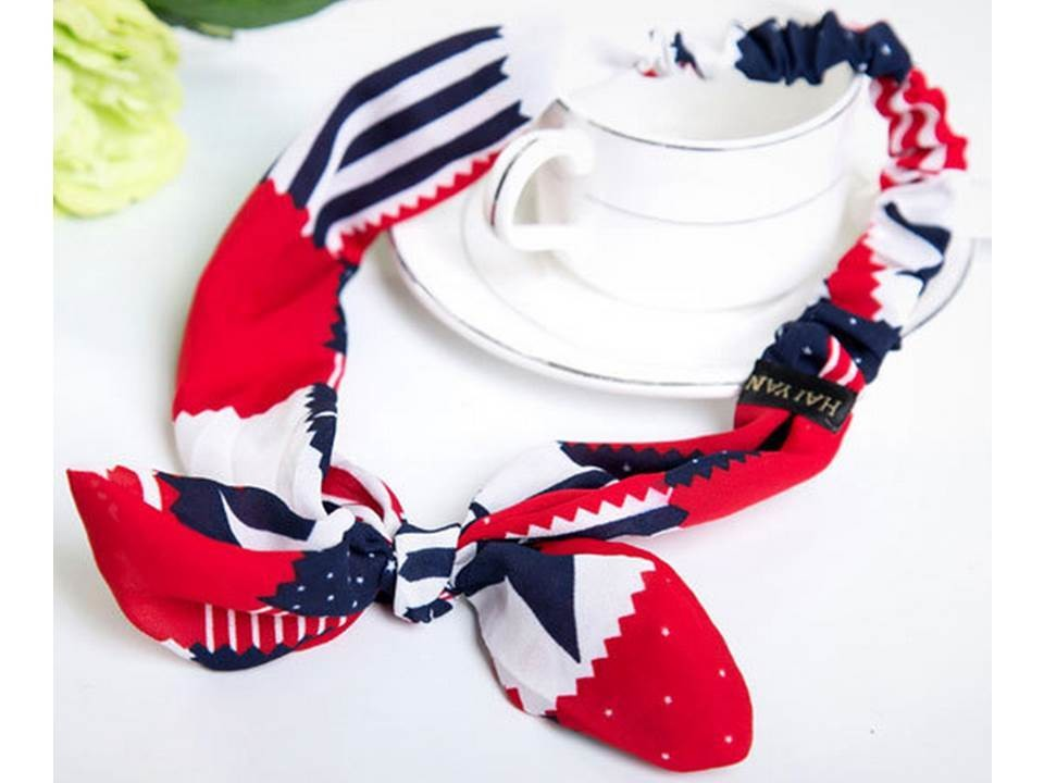 Flag pattern elastic headband with bow