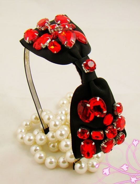 Stunning red gems black bow-tie headband