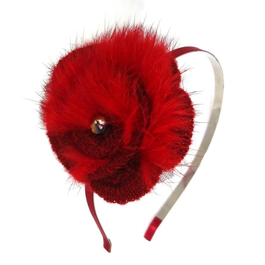 Crochet fury flower headband