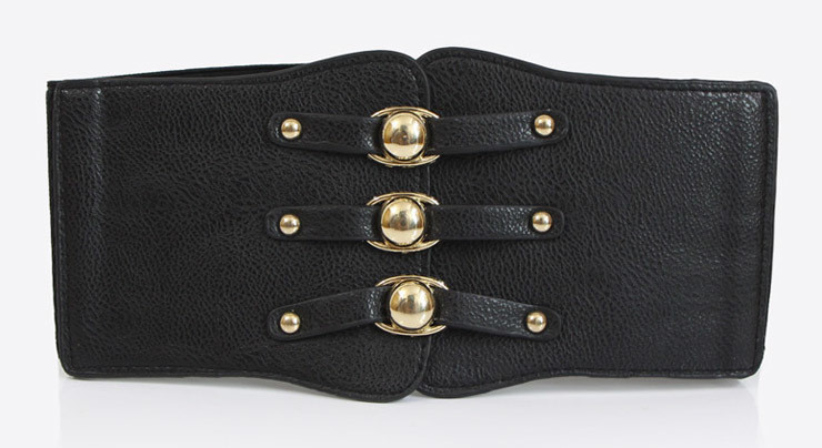 Synthetic leather extra-wide stretch belt