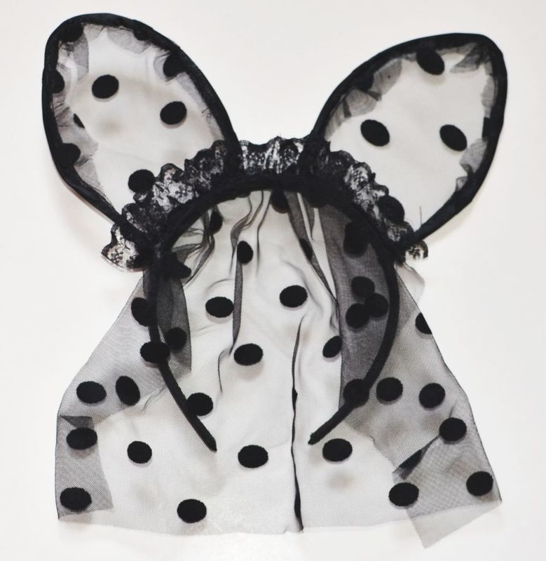 Black dots lace cat ears with veil