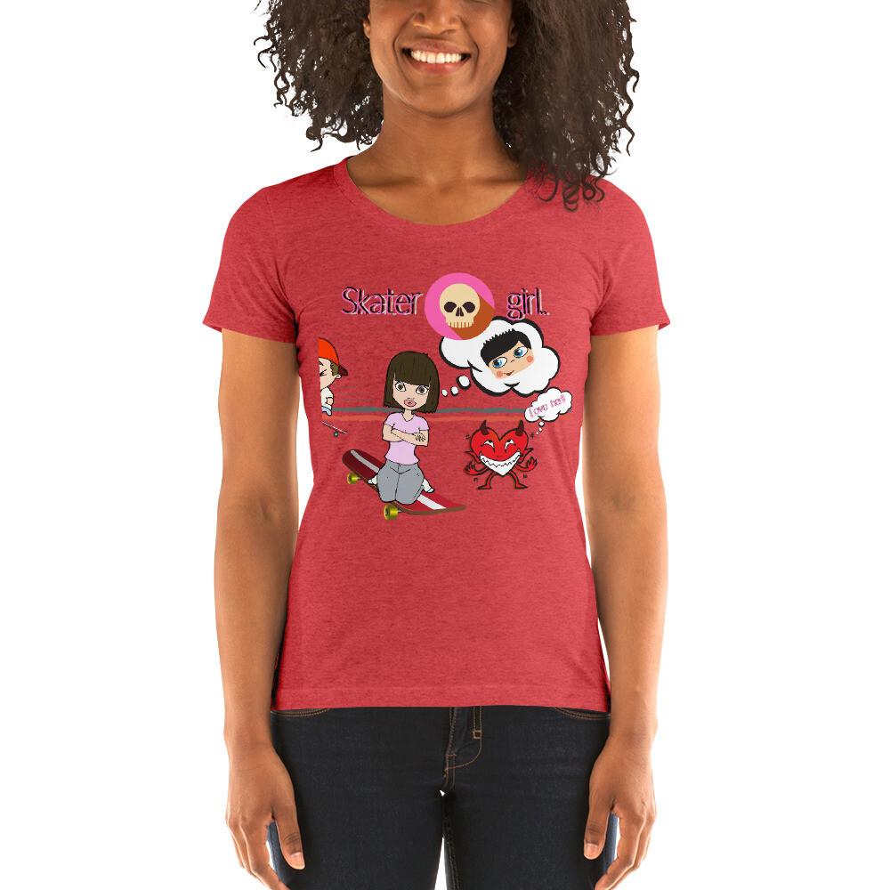 """Ladies' tri-blend, """"Skater girl,"""" t-shirt"""