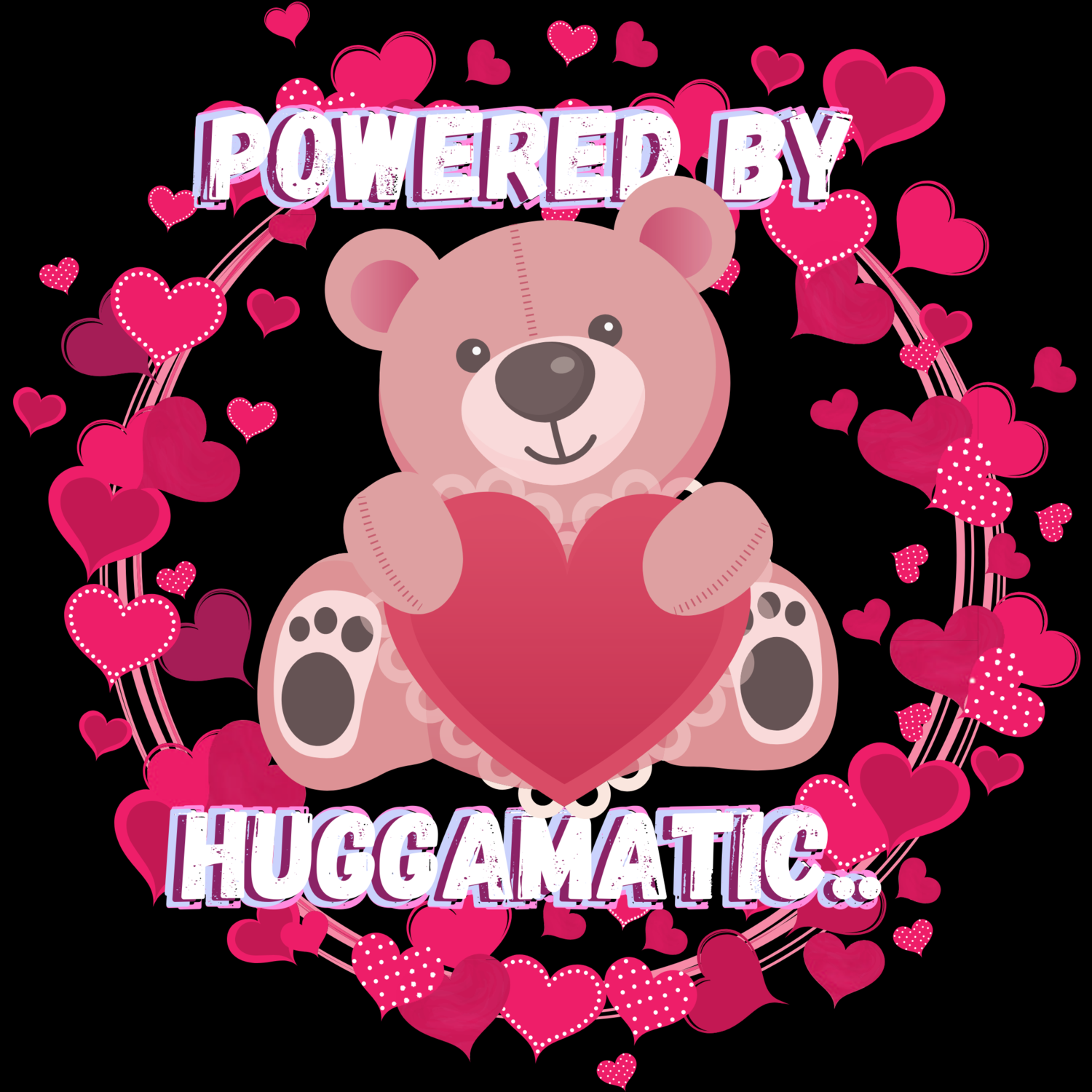 """American Jersey · """"Powered by Huggamatic,"""" t-shirt.."""
