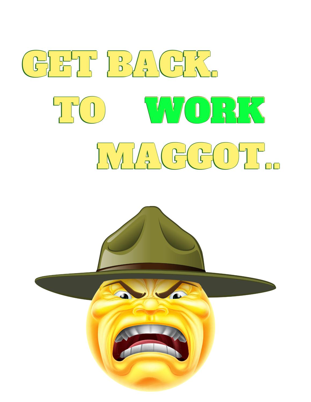 "Cool Employer, ""Get back to work maggot,"" Premium T-Shirt.."