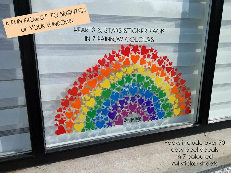 Heart & Stars Sticker Pack - 7 Rainbow Colours