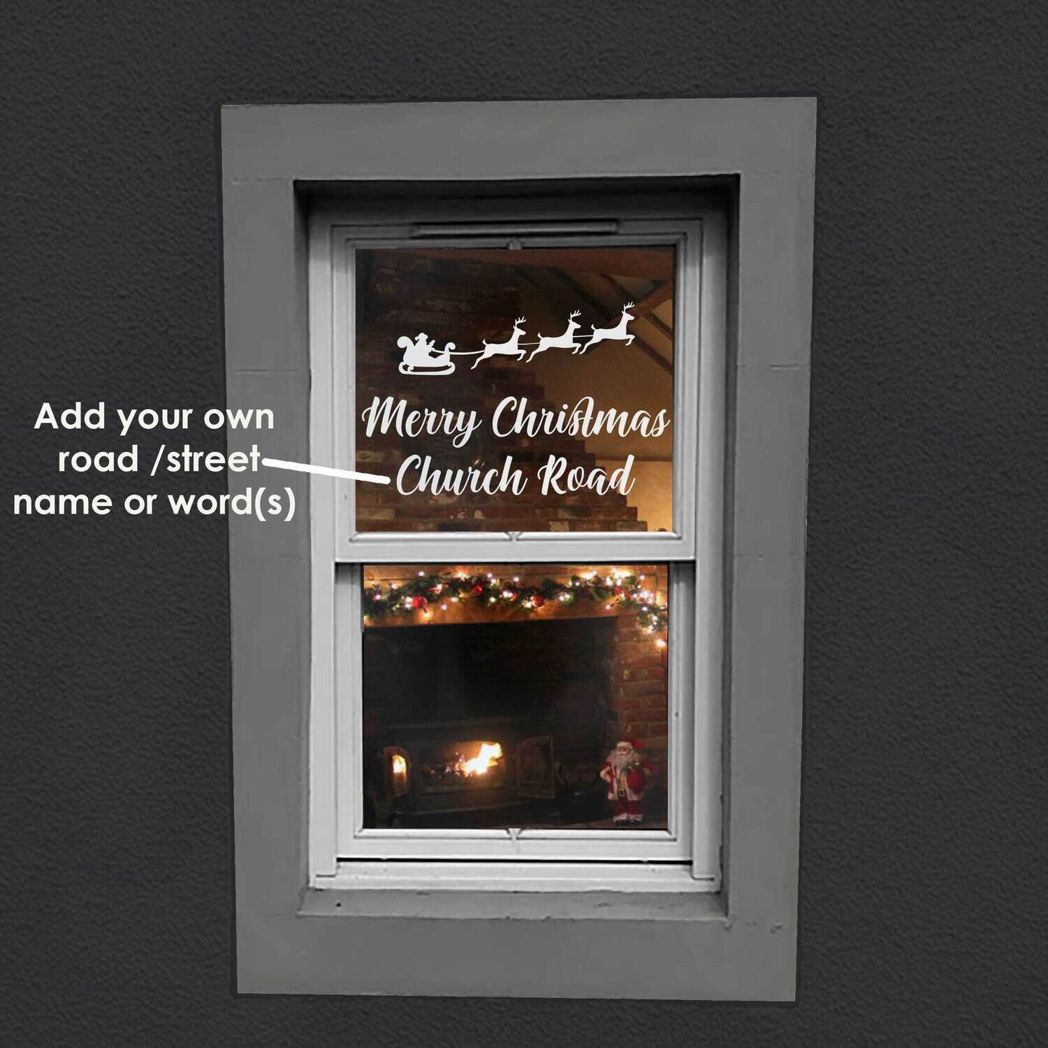 Merry Christmas Window Decal Sticker - Add Your Road or Street Name