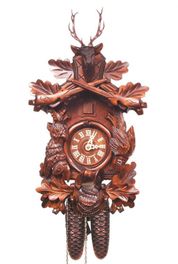 8-Day Carved Walnut with Deer Head Cuckoo Clock