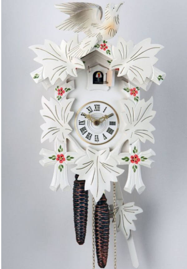 1-Day White Carved Red Flowers Cuckoo Clock