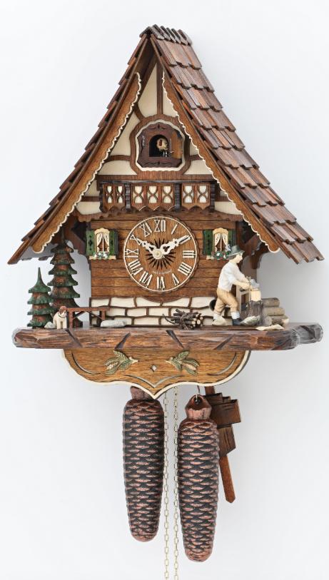 8-day Chalet Wood Chopper Cuckoo Clock