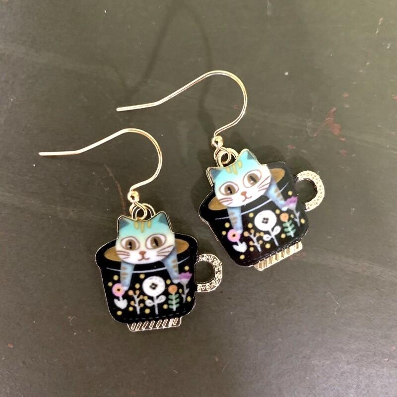 Cat Teacup Earrings