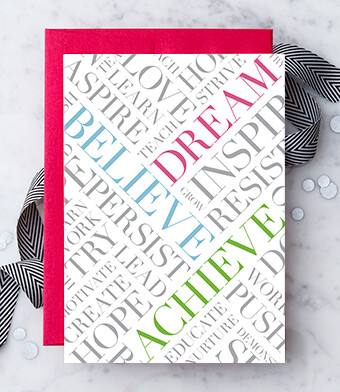 Dream. Believe. Achieve. Greeting Card