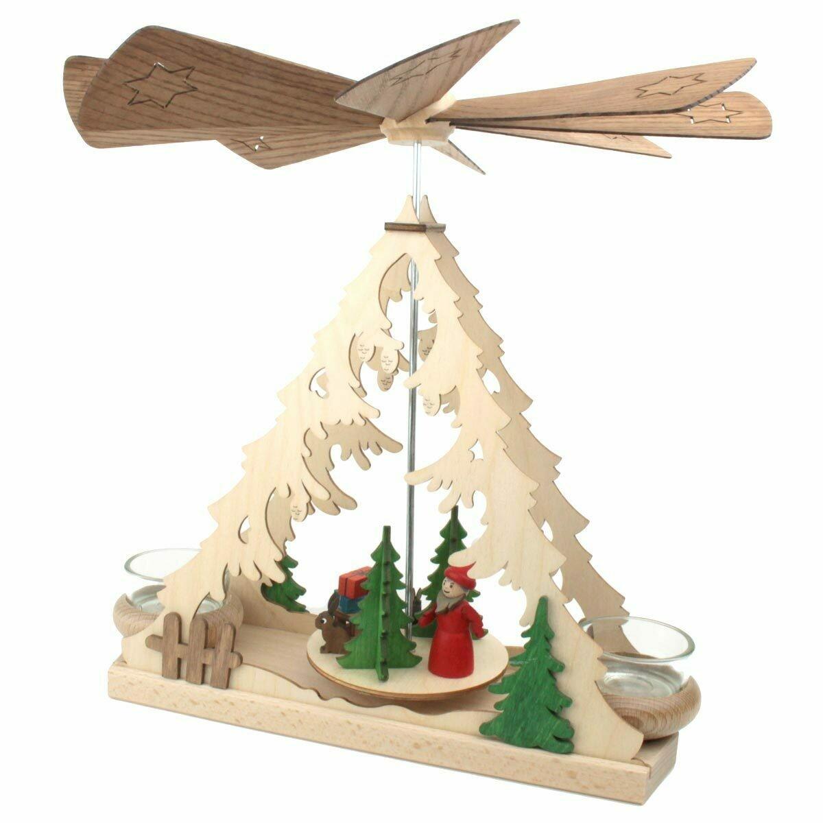 Santa with Gifts Tea Light German Pyramid